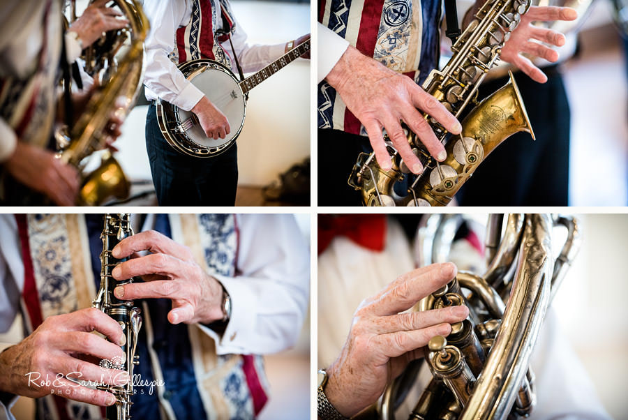 Close up images of Dixie band musical instruments