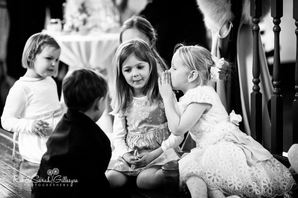Kids chatting during wedding reception at Malvern College