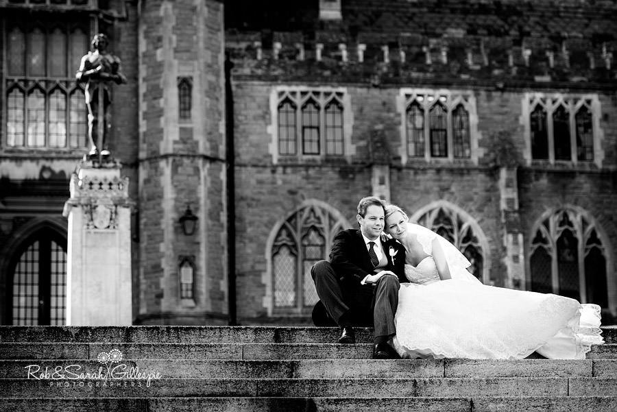 Black and white image of Malvern College bride and groom