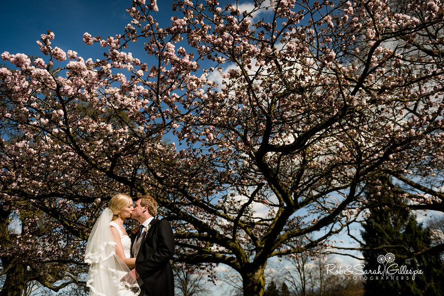 Blossom tree at Malvern College with bride and groom kissing