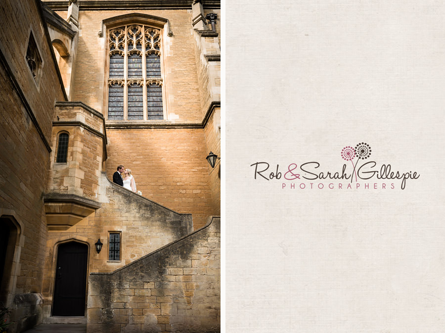 Bride and groom on steps of Malvern College chapel