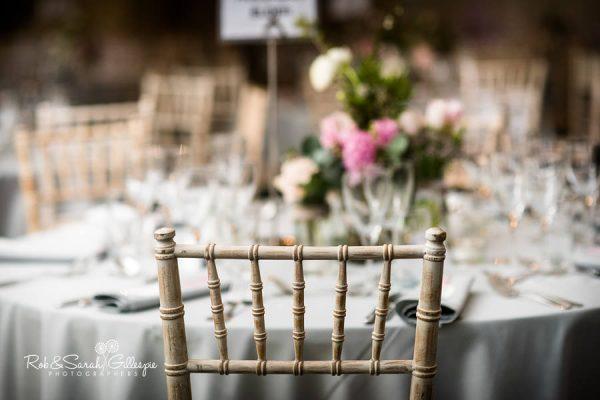 Table details at Malvern College wedding