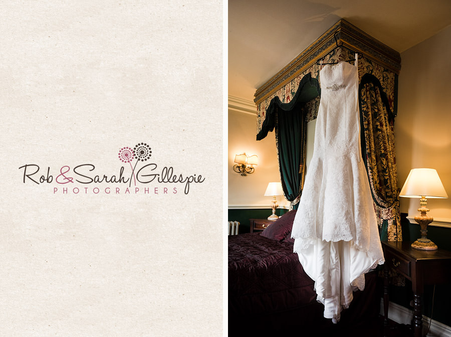 Beautiful wedding dress hanging up in Coombe Abbey hotel room