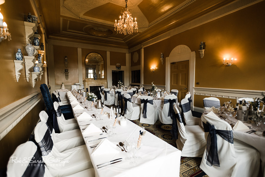 Stuart Room at Coombe Abbey set up ready for wedding breakfast