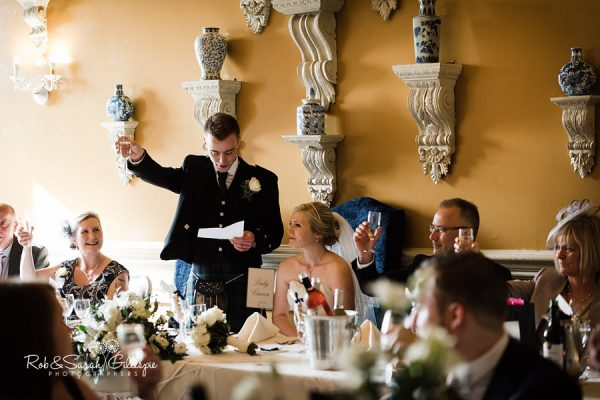 Wedding speeches in Stuart Suite at Coombe Abbey