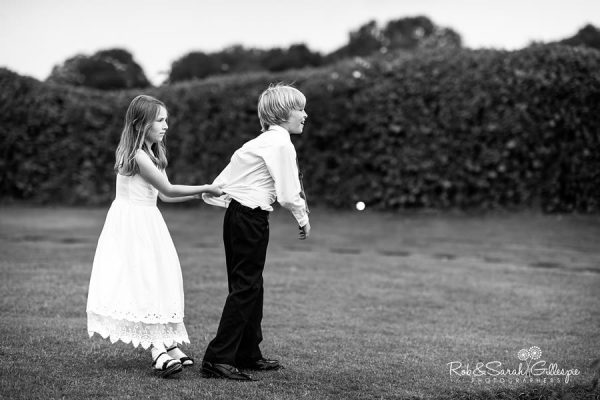 Two children playing at Wethele Manor wedding