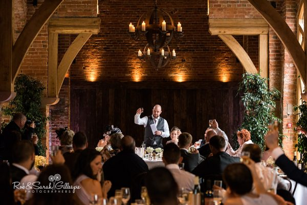 Groom gives wedding speech at Shustoke Barn