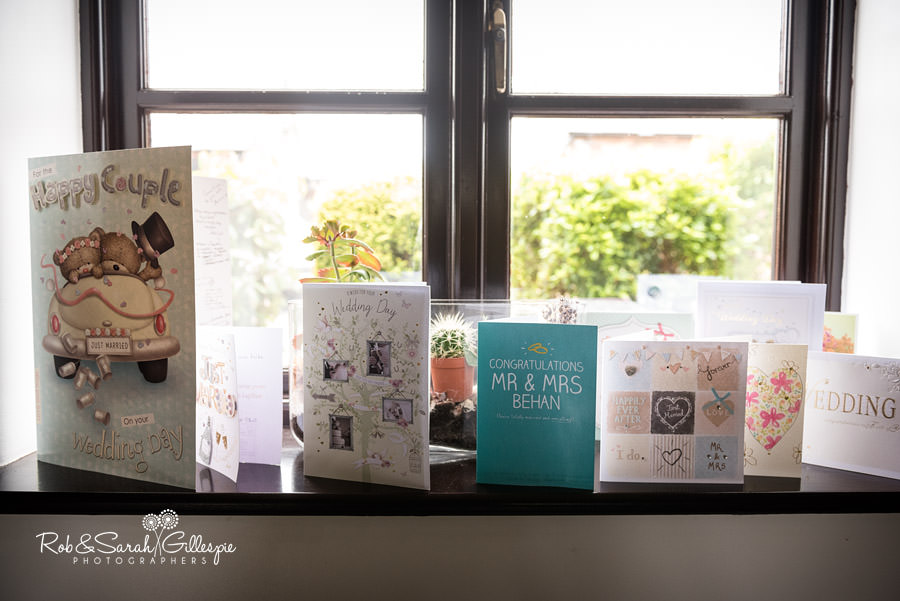 Wedding cards displayed