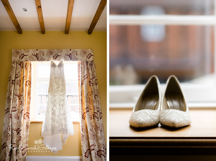 Wedding dress and bridal shoes at Delbury Hall Coach House