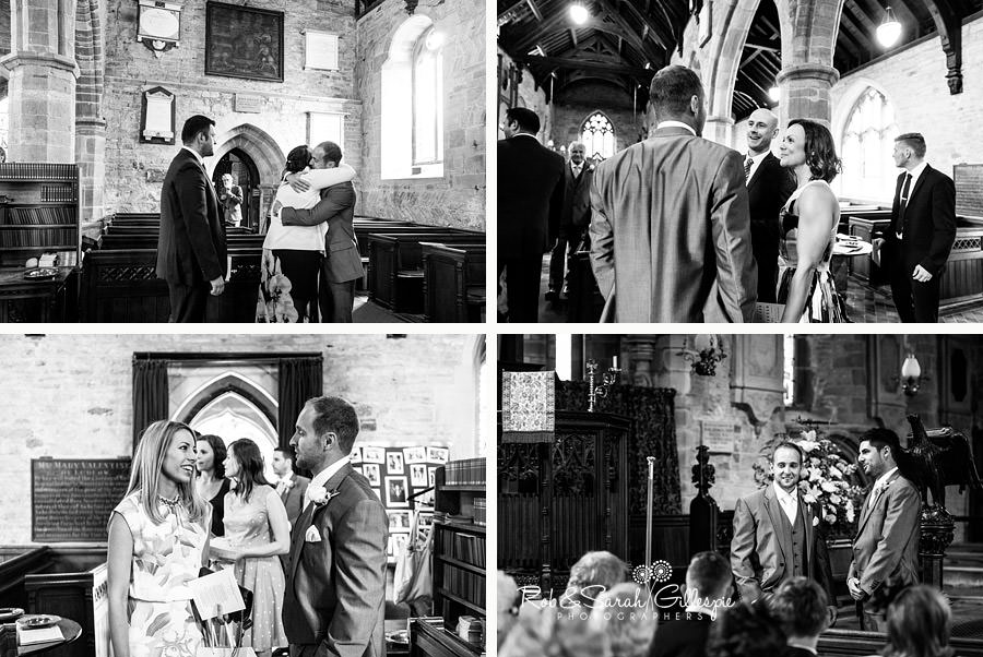 Wedding guests arriving at St Peters Church Diddlebury