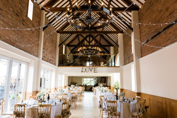 Barn at Delbury Hall ready for wedding breakfast