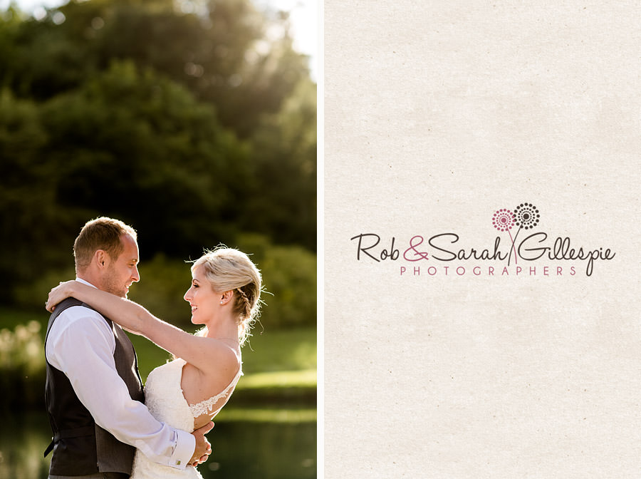 Bride and groom in sunshine at Delbury Hall