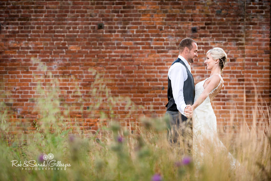 Bride and groom at Delbury Hall