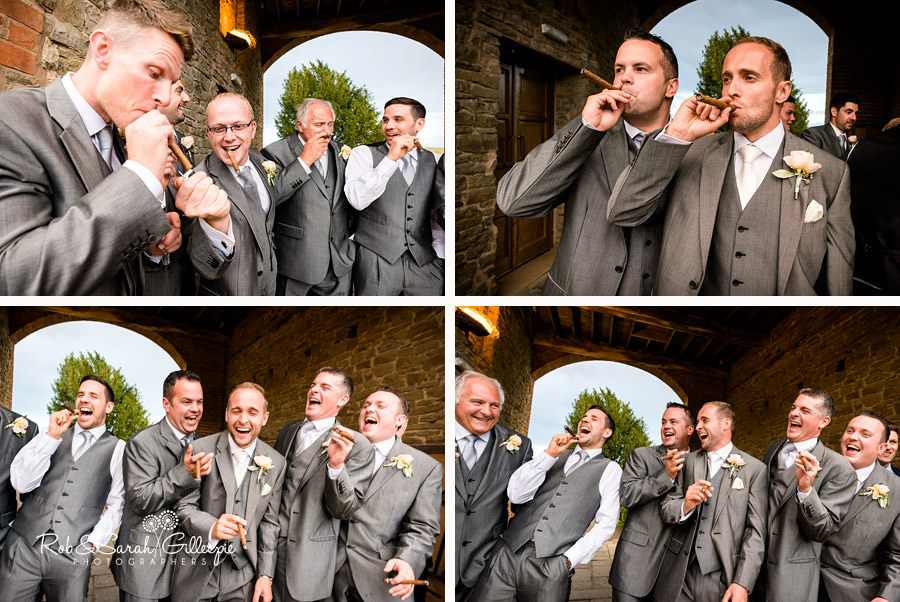 Groom and friends enjoying cigars at Delbury Hall Wedding