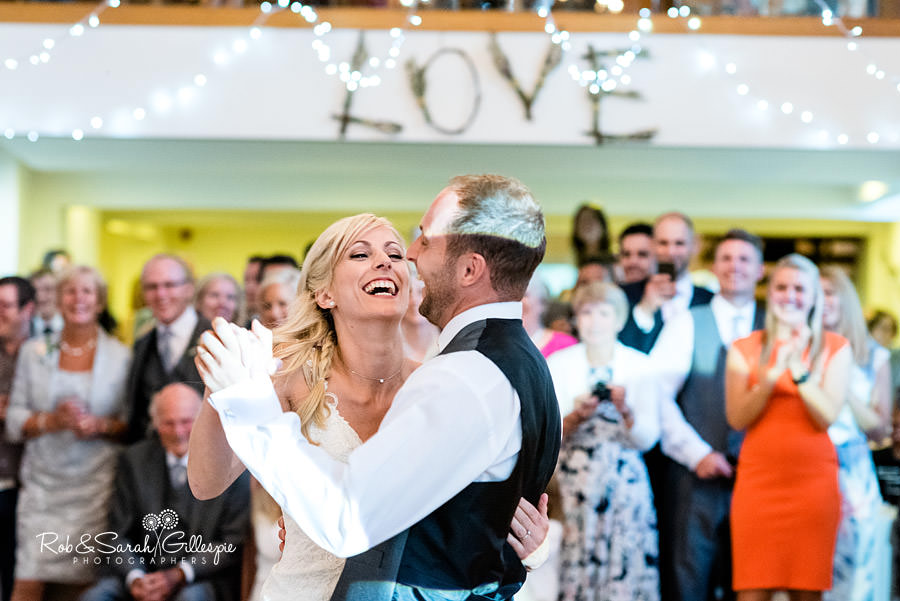 Bride and groom first dance at Delbury Hall