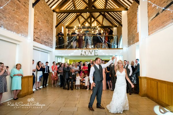Bride and groom first dance at Delbury Hall wedding