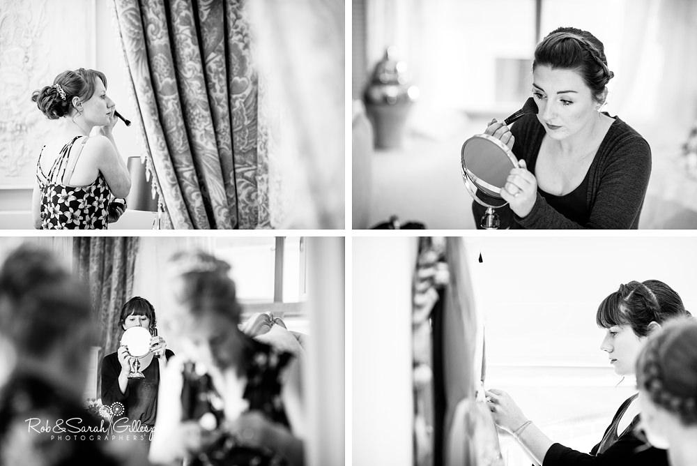 Bridesmaids prepares for wedding at Gorcott Hall