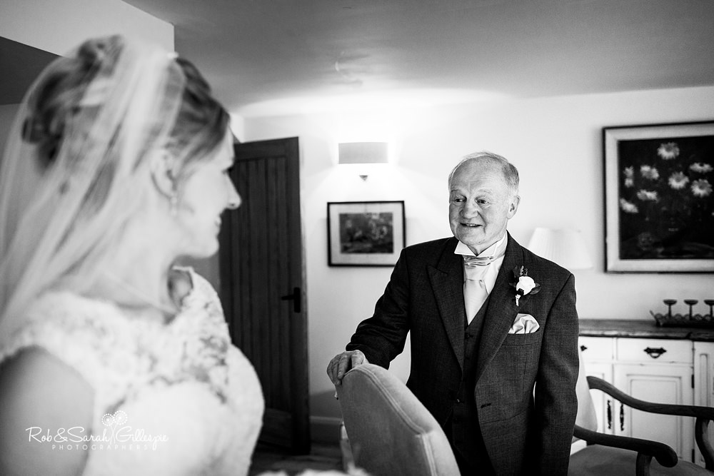 Dad sees daughter in wedding dress at Gorcott Hall