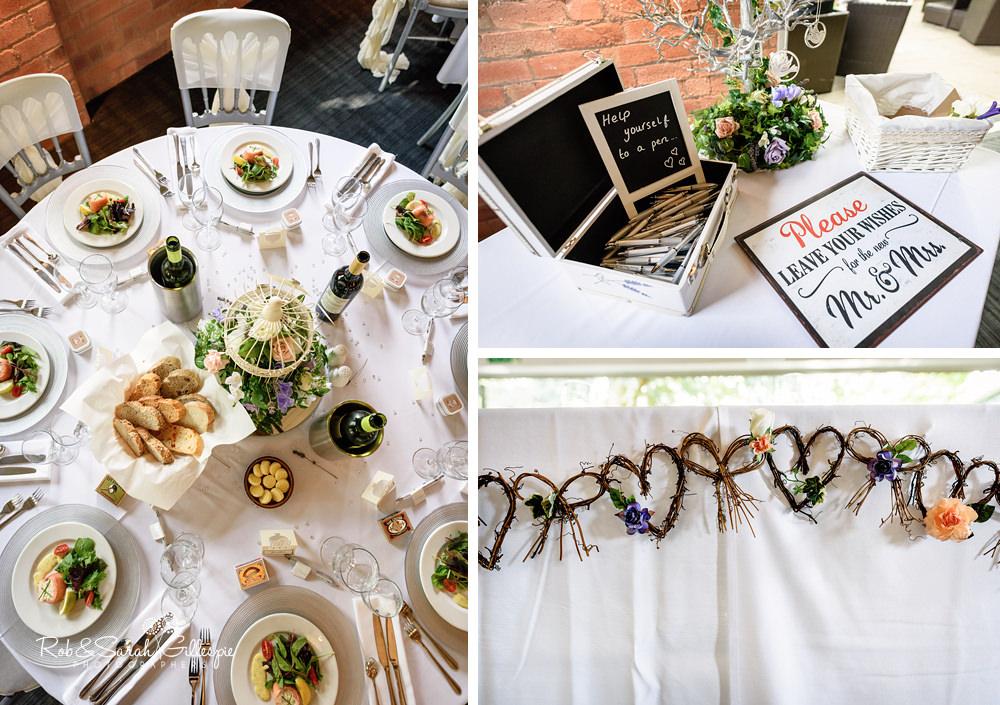 Details for wedding breakfast at Gorcott Hall