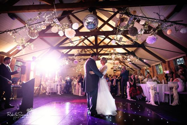 Bride and groom first dance at Gorcott Hall wedding
