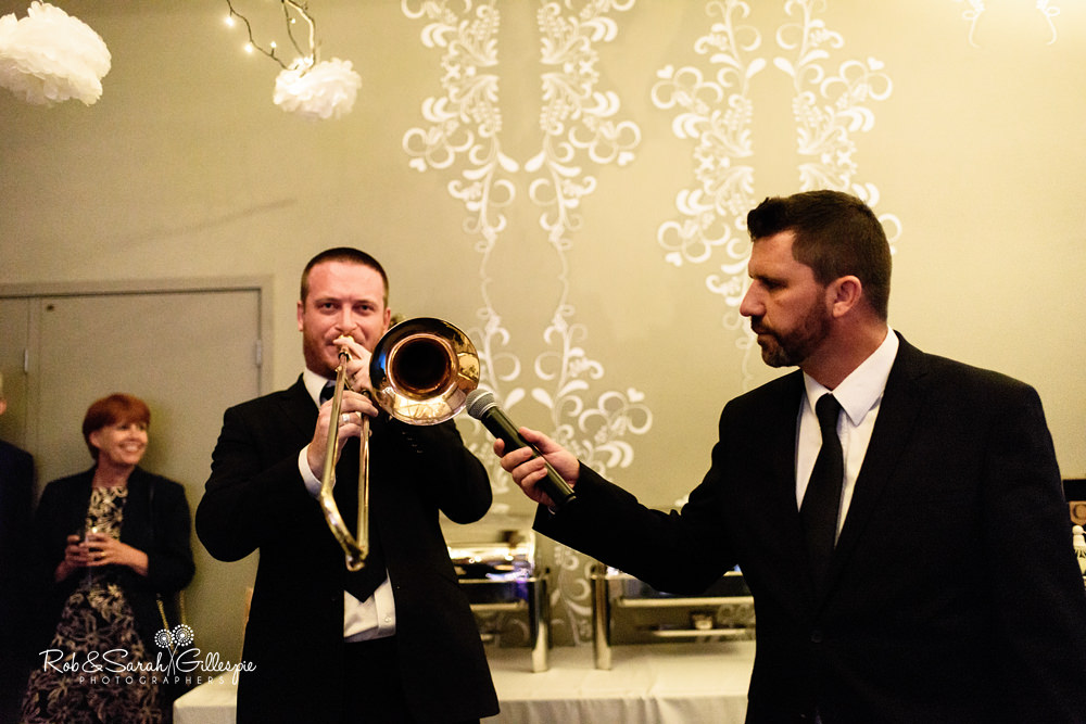 Live swing band at Gorcott Hall entertaining wedding guests
