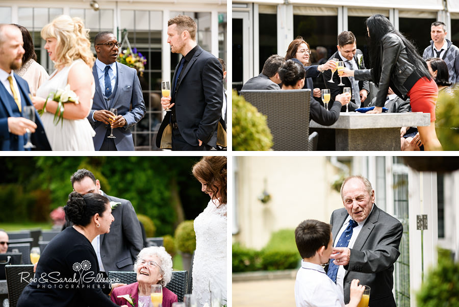 Wedding guests enjoying outdoor drinks reception at Hogarths