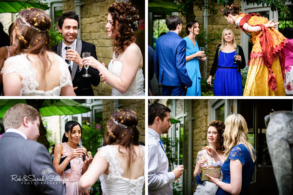 Wedding guests enjoy drinks reception at Matara Centre wedding