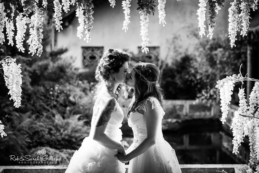Two brides together at Matara Centre same-sex wedding