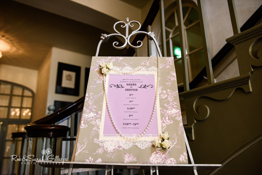 Order of the day sign at Warwick House wedding