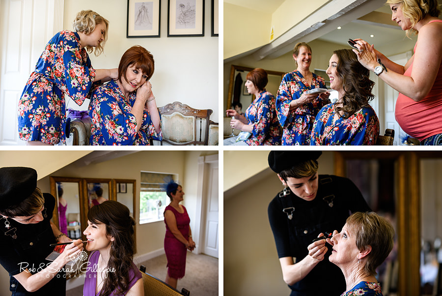 Bridesmaids getting ready for wedding at Warwick House