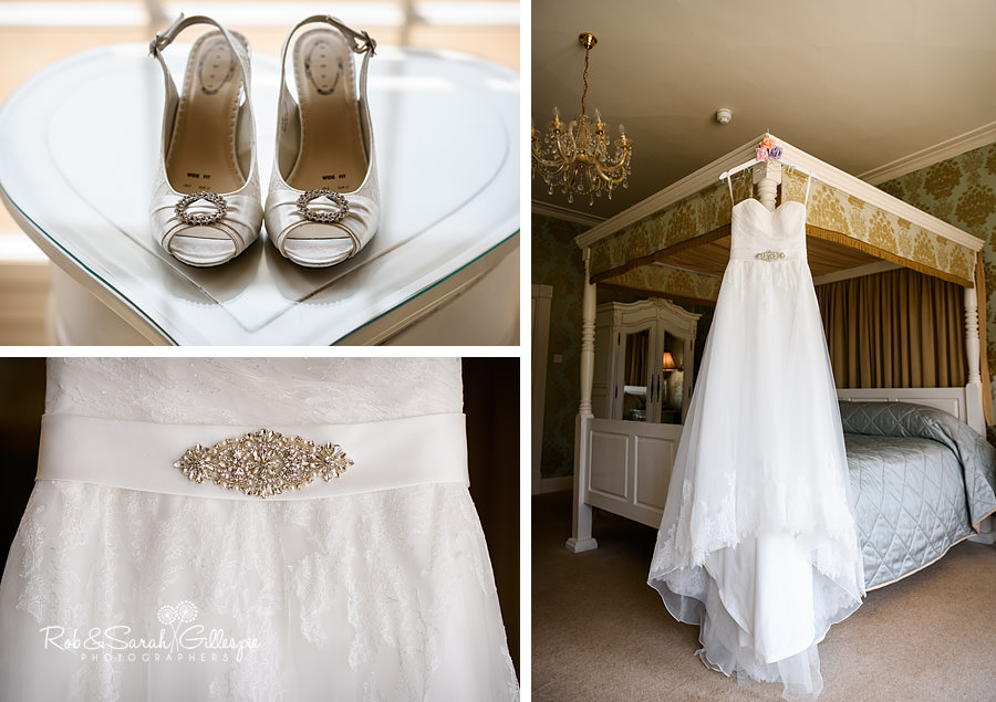 Bridal shoes and wedding dress in Honeymoon Suite at Warwick House