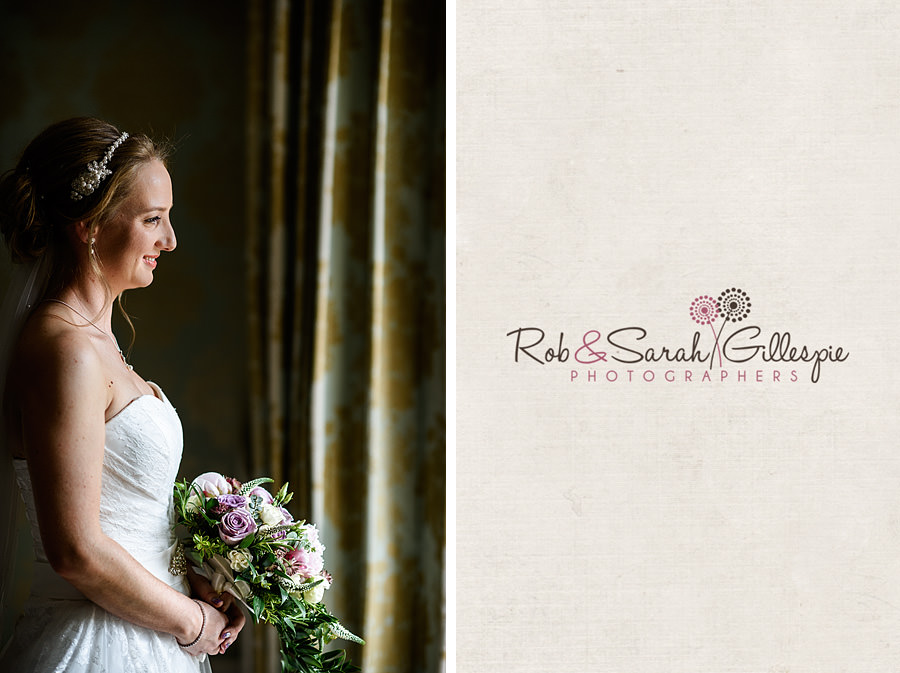 Portrait of bride in beautiful window light at Warwick House