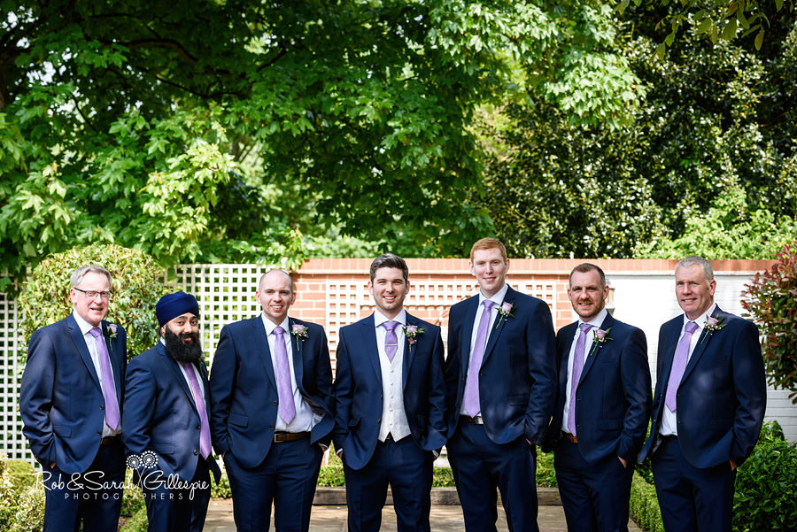 Groom and ushers group photo at Warwick House