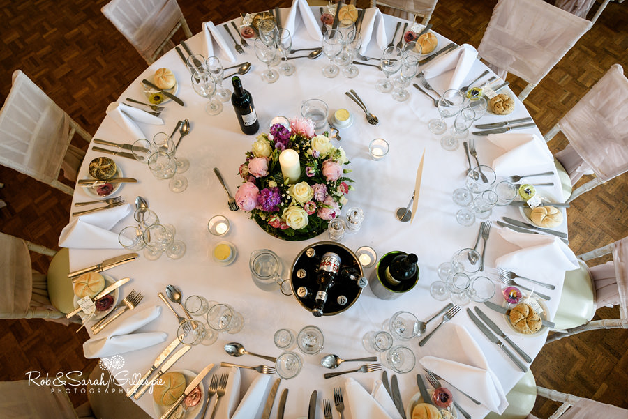 Wedding breakfast details at Warwick House