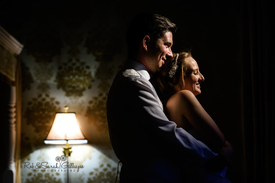 Beautiful interior portrait of bride and groom at Warwick House by Rob & Sarah Gillespie