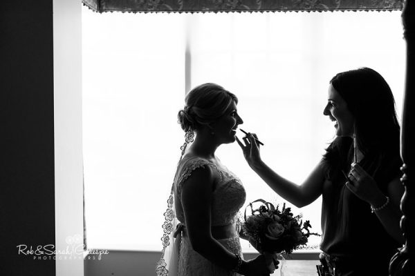 Bride and makeup artist silhouette at Wethele Manor