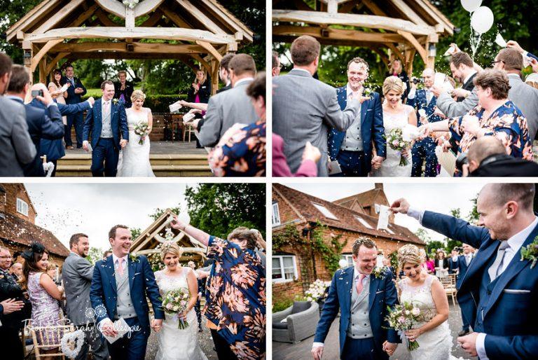 Wedding confetti throw at Wethele Manor outdoor ceremony