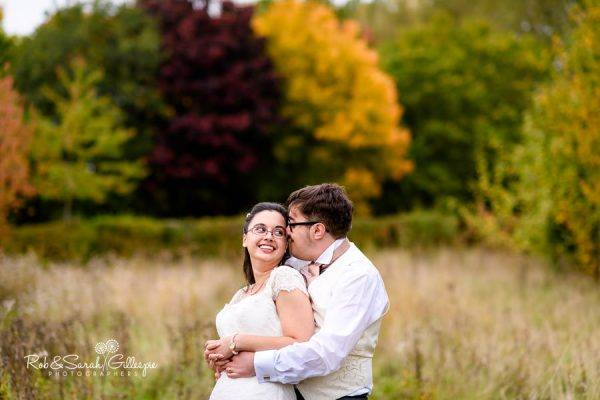 Bride and groom together in Alrewas Hayes grounds