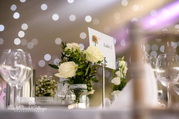 Table details at Alrewas Hayes wedding