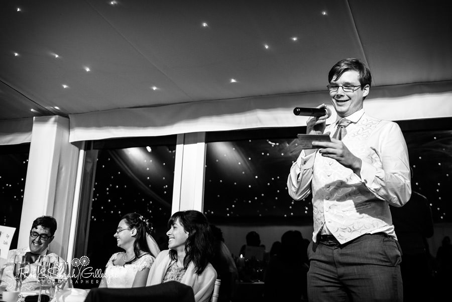 Best man gives speech at Alrewas Hayes