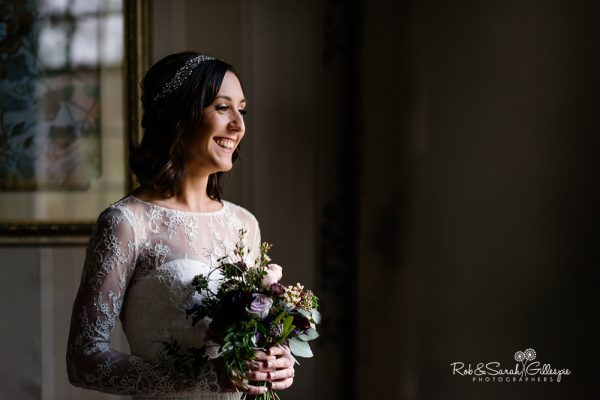 Bride portrait at Brockencote Hall in beautiful light