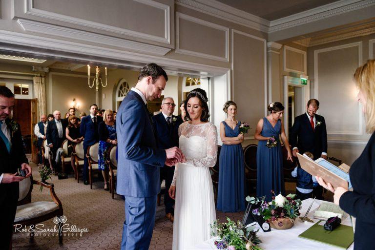 Civil wedding ceremony at Brockencote Hall