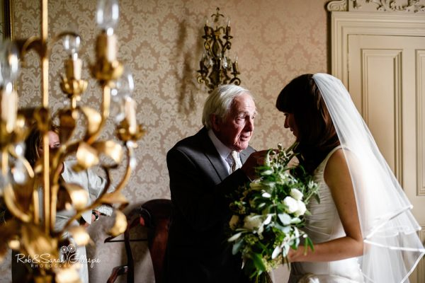 Bride and grandfather at Coombe Abbey wedding