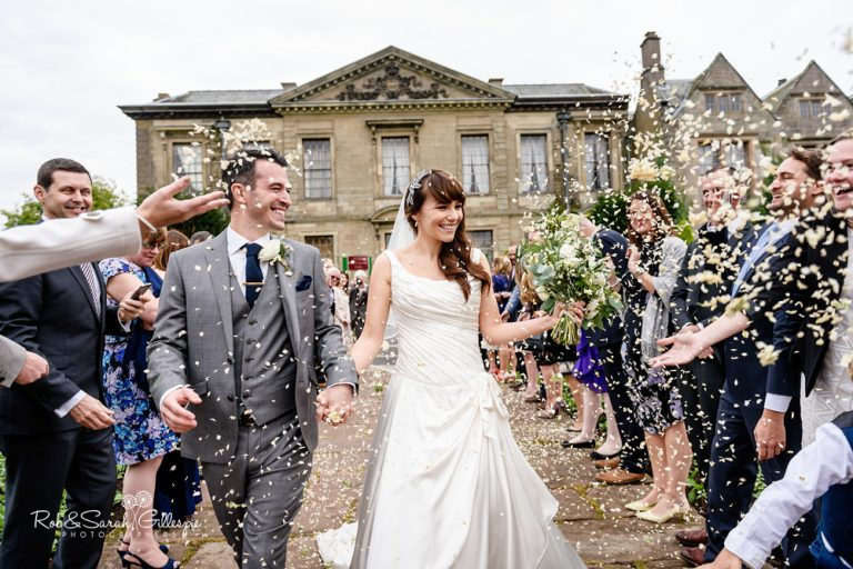 Confetti throw at Coombe Abbey in Warwickshire