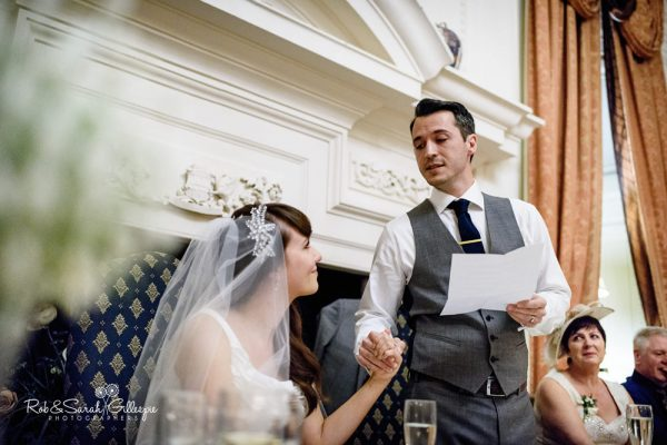 Wedding speeches in Cloisters Suite at Coombe Abbey