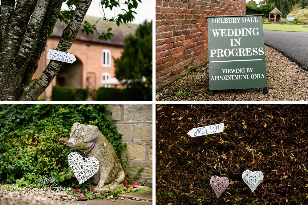 Details of wedding signs at Delbury Hal