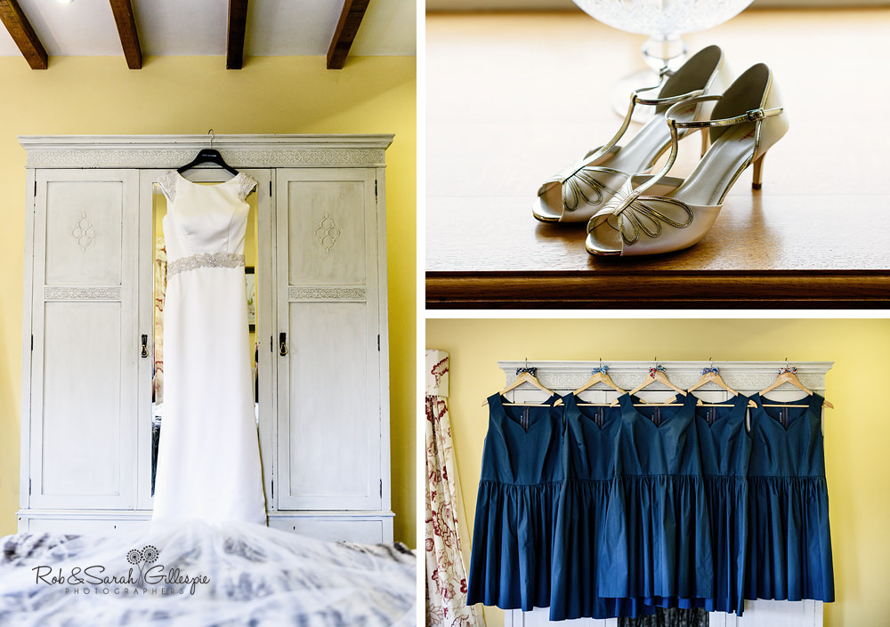 Detail photos of wedding dress, shoes and bridesmaids dresses at Delbury Hall