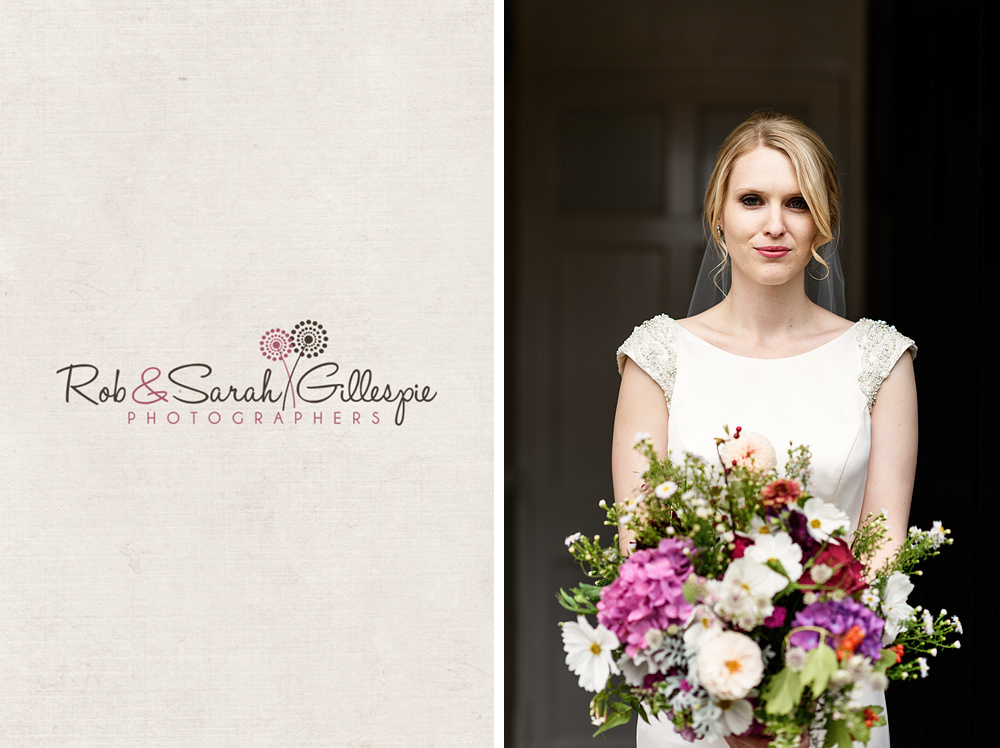 Portrait of bride with beautiful bouquet at Delbury Hall Coach House