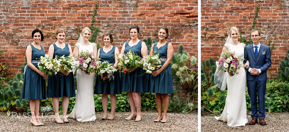 Group photo of bride, bridesmaids and father at Delbury Hall