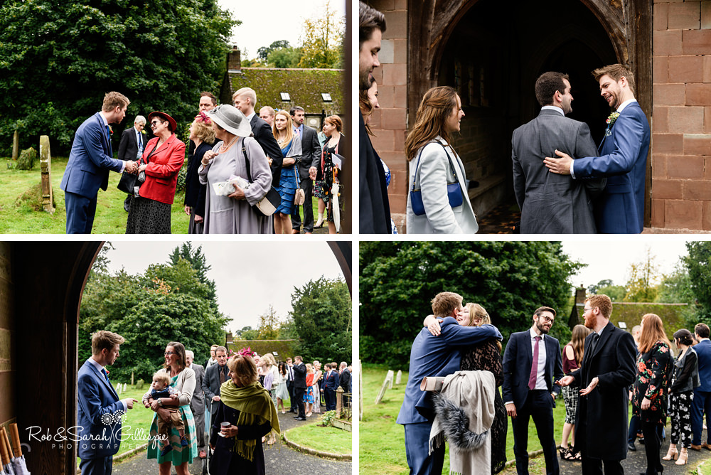 Groom greets wedding guests as they arrive at St Peter's Diddlebury